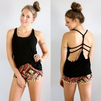 FESTIVAL BLACK ROPE BACKLESS STRAPPY CAGED OPEN BACK TANK TOP 6 8 10 12