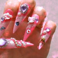 Stiletto nails, long nails, hime gyaru, pink nails, Japanese 3D nail, heart, gem, rose, pearl, party nails, bling, anime, lolita accessory