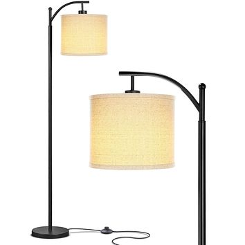 Brightech Montage - Bedroom & Living Room Floor Lamp - Reading Standing Light with Arc Hanging Shade - Indoor, Tall Pole Lamp for Office - Suits Mid Century Modern & Farmhouse - with LED Bulb - Black Classic Black