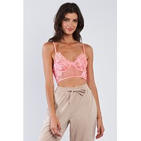 Neon Pink Floral Lace Cropped Cami Underwire Bralette