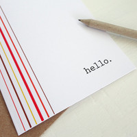 Hello card 70's stripes greeting card brown red orange minimalist geometric print