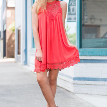 In This Moment Dress, Coral