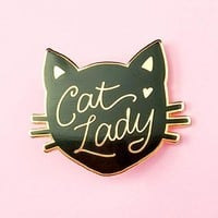 Cat Lady Pin - Black