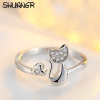 SHUANGR Charm Crystal Top Quality Cubic Zirconia Crystal Inlaid Cute Animal Cat Ring for Women/Girls