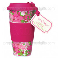 Preppy Monogramed - Lilly Pulitzer Travel Mug 16 Oz Beach Rose