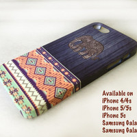 Aztec Elephant Geometric Tribal Wood iPhone Case cover, iPhone 5 Case, iPhone 5s Case, iPhone 4, iPhone 4s Case, iPhone 5c,Samsung Galaxy S4