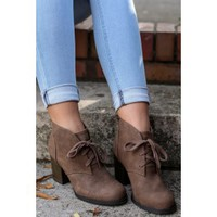 Catch Up To Me Brown Ankle Boots