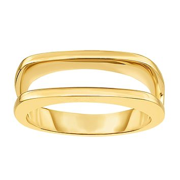14K Yellow Gold Parallel Bar Design Fancy Ring, Size 7