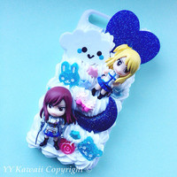 Custom kawaii anime manga Fairy Tail including Happy and Lucy Decoden Phonecase for Iphone 4/4s 5, Samsung Galaxy S2 S3 S4 Note, HTC