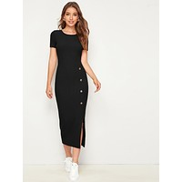 SHEIN Button Detail Split Hem Rib-knit Dress
