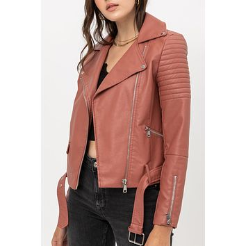 Faux Leather Fully Lined Quilted Moto Biker Jacket