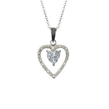 Sterling Silver White Topaz and .01 ct Diamond Heart Outline Necklace