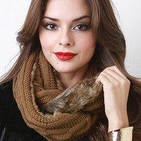 Knit and Fur Infinity Scarf