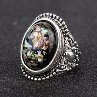 ON SALE - Abalone Cabochon Vintage Style Silver Ring