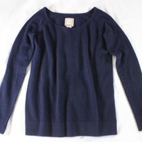 """~~~ BLANKET-SOFT! ~~~ HAPPY BY DAWN BAKER NAVY """"CASHMERE"""" KNIT SWEATER ~~~ 0/S"""