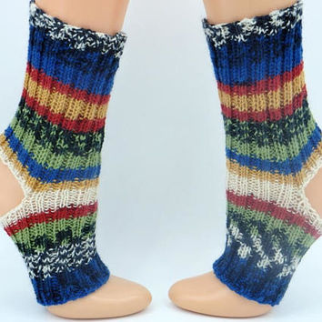 Dance teacher gift barefoot socks for belly dance hand knitted striped flip flop socks