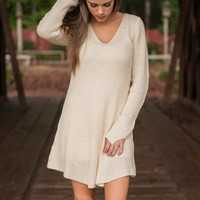 It's That Simple Sweater Dress, Cream