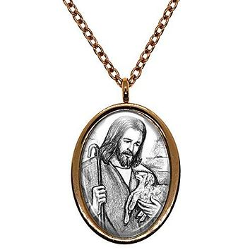 My Altar Jesus Christ Shepherd with Baby Lamb Rose Gold Stainless Steel Pendant Necklace