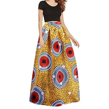 Women's African Print Stretch Elastic High Waist Skirt - Yellow Print with Red Circles