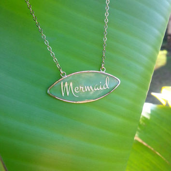 Mermaid Script Necklace, 14k gold filled necklace, resin necklace, see through