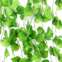 230cm 7.5 ft Long Artificial Plants Green Ivy Leaves Artificial Grape Vine Fake Foliage Leaves Home Wedding Decoration
