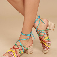 LFL Simple Bright Multi Leather Lace-Up Heels
