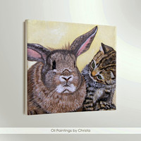 CUSTOM  portrait  2 Pets Painting Cats Dogs Pet gifts Oil Painting Kids room Personalized gift Pet lovers Art Nursery art Animals