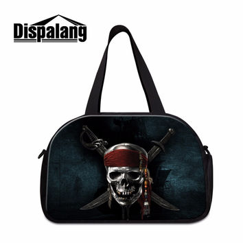 Pirates Shoulder Gym Bags Pattern for Men Cool Skull Gym Bag with Compartments Designer Travel Bags for Guy Duffel Sports Bag