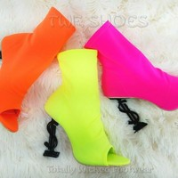 "CR Infinite Neon Colors Stretch Slip On Ankle Boot 4"" Dollar Sign High Heels"