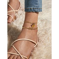 2pcs Butterfly & Number Decor Chain Anklet