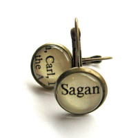Carl Sagan Astronomer Recycled Library Card Word Earrings Patina Brass