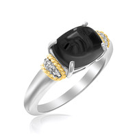 18K Yellow Gold & Sterling Silver Claw Set Oval Onyx Ring: Size 7