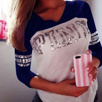 DCCK7BW Victoria's Secret PINK Women's Fashion Letter Print V-neck Long-sleeves Pullover Tops