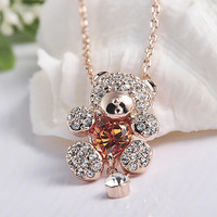 Teddy Bear Necklace, Rose Gold Color Finish Teddy Bear Pendant With Amber or Clear Heart And Austrian Crystal Necklace