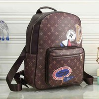 LV Louis Vuitton Women Fashion Daypack School Bag Leather Backpack-1