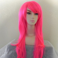 ON SALE Neon Hot Pink / Long Straight Wavy Layered Wig by ExandOh
