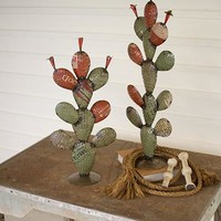 Set of 2 Recycled Iron Cactus