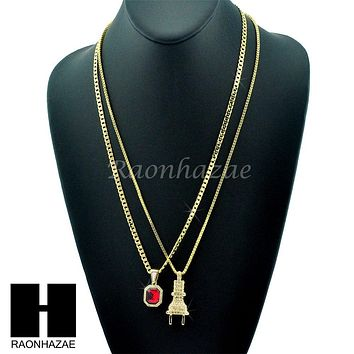 """HIP HOP ELECTRIC PLUG / RED RUBY 24"""" BOX / CUBAN LINK CHAIN NECKLACES"""