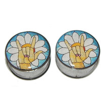 """Sign Language for Love Plugs - 1 Pair - Sizes 2g, 0g, 00g, 7/16"""", 1/2"""", 9/16"""", 5/8"""", 3/4"""", 7/8"""" & 1"""""""