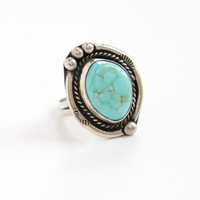 Vintage Sterling Silver Large Turquoise Blue Stone Ring- Size 6 Retro Southwestern Native American Style Chunky Jewelry