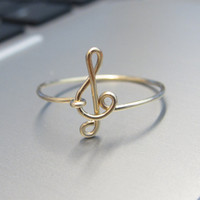 14k  Gold Treble Clef Ring, Wire Treble Clef Ring, Gold Treble Clef Ring, Dainty Ring, Music Ring, Simple Ring