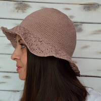 Floppy sun hat, Sun hat cotton, Beach bucket hat, Cloche summer hat, Sun hat crochet, Beige floppy hat, Lace brim hat, Sun brimmed hat