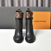 lv louis vuitton trending womens black leather side zip lace up ankle boots shoes high boots 299