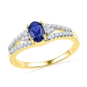 10k Yellow Gold Oval Created Blue Sapphire Solitaire Diamond Ring 1 Cttw