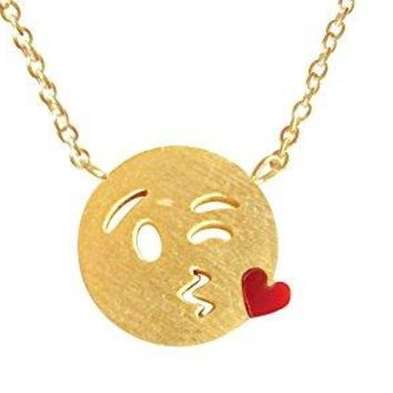 Blow Kisses Emoji Necklace - Emoji Inspired Necklaces - Funny Yet Meaningful Emoji Jewelry for Women