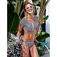 Fashion Stripe Zip Round Neck Short Sleeve  Crop Top Triangle Straps Underpant Bikini Swimwear Set Two-Piece