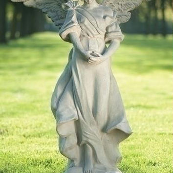 Angel Outdoor Garden Statue - Wide Square Base