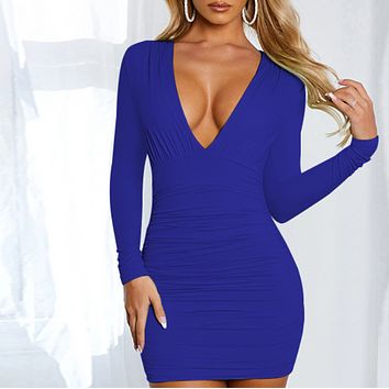 Explosion hot sale sexy deep V pleated hip dress women