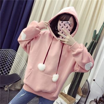 Harajuku Women Hoodies Heart Embroidery Sweet Kawaii Pompom Pullover For Girls Thicker Autumn Winter