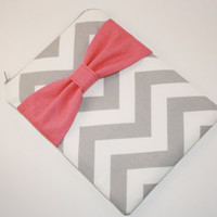 iPad Mini, Kindle, Nook, eReader Case - Gray Chevron Stripe with Hot Pink Bow - Padded
